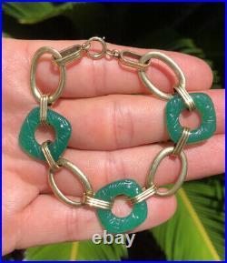 Fine Antique Art Deco Carved Green Chrysoprase & 14k Yellow Gold Link Bracelet