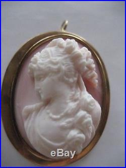 Fine Antique Art Nouveau Carved Angelskin Pink Conch Shell Cameo Flora 10k Gold