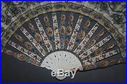 Fine Antique Art Nouveau French Carved Sticks Hand Painted Brids Flowers Fan