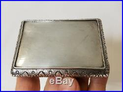 Fine Antique Austrian Hungarian. 800 Silver Snuff Box with Hand Carved Panel