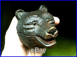 Fine Antique Black Forest Carved Bears Head Stamp Box With Two Tone Glass Eyes