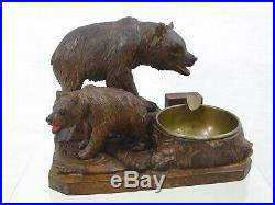 Fine Antique Black Forest Figural Ashtray Hand Carved Bear Figurine Statue