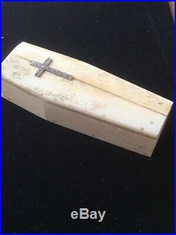 Fine Antique Bone Bovine Carved Human Skeleton Coffin 19th Cent Prisoner of War