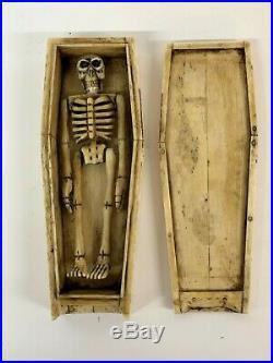 Fine Antique Bone Bovine Carved Human Skeleton Coffin 19th Century Miniature