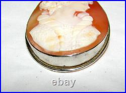 Fine Antique Carved Cameo Shell Brooch / Pendant Set In 800 Silver 14k Gold Trim