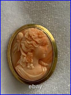 Fine Antique Carved Coral Cameo Bacchante Pendant in 14k Gold