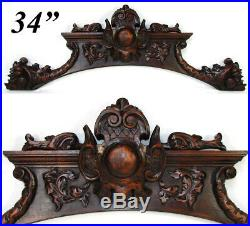 Fine Antique Carved Walnut 34 Furniture Cornice, Architectural Salvage, Figural