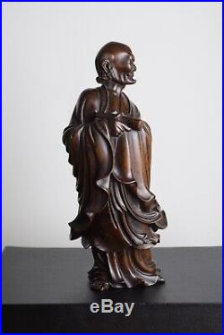Fine Antique Chinese 18th/19th Century Carved Wood Figure Of Damo