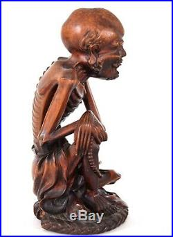 Fine Antique Chinese Boxwood Carving Emaciated Lohan Buddha Arhat Qing Dynasty