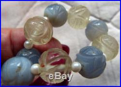 Fine Antique Chinese Carved Blue chalcedony and Rock Crystal Shou Longevity Bead