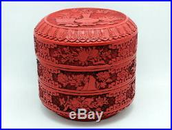 Fine Antique Chinese Carved Cinnabar Lacquer Three Layered Stacking Box