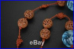 Fine Antique Chinese Carved Heidao Nut And Peking Glass Bead Necklace