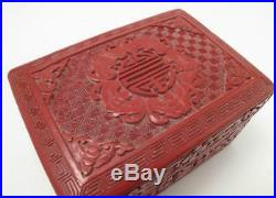 Fine Antique Chinese Carved Red Cinnabar Lacquer On Wood Box Five Bats Blessings