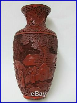 Fine Antique Chinese Carved Red Cinnabar lacquer Vase With Figure & Landscape