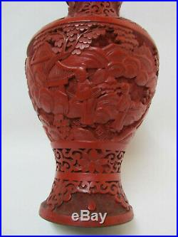 Fine Antique Chinese Carved Red Cinnabar lacquer Vase With Figure and Landscape