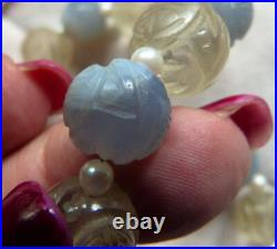 Fine Antique Chinese Carved Shou Beads Necklace, blue chalcedony, Rock Crystal