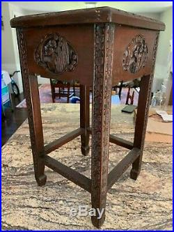Fine Antique Chinese Carved Wood & Inlaid Hardstone Table