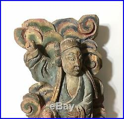 Fine Antique Chinese Carved Wood Polychrome Temple Deity Figure Qing 19th C. 16