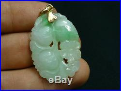 Fine Antique Chinese Grade A Jade Carved Pendant of Fruits and Flowers