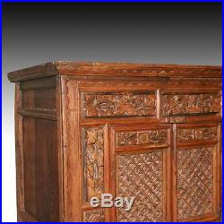 Fine Antique Chinese Hand-carved Elm Wood Cabinet Furniture China 19th C
