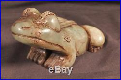 Fine Antique Chinese Jade carved Frog Statue figurine 12 cm, Qing era