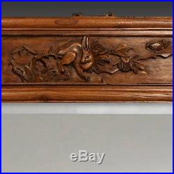 Fine Antique Chinese Qing Hand-carved Elm Beveled Glass Mirror Rabbit China
