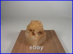 Fine Antique Chinese Soapstone Seal Foo Lion Carved