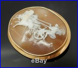 Fine Antique Early 20c Large 14K Gold Carved Shell Cameo Apollo Driving Chariot