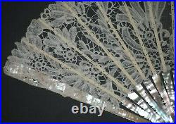 Fine Antique French Art Nouveau Carved Mother Of Pearl Brussels Lace Bride Fan