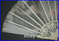 Fine Antique French Art Nouveau Chrystanthemum Carved Painted Flowers Silk Fan