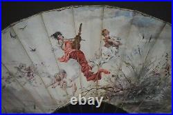 Fine Antique French Art Nouveau Hand Painted Beauty Cherub Scene Carved Horn Fan