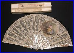 Fine Antique French Carved Mother Of Pearl Chantilly Lace Hand Painted Scene Fan