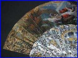Fine Antique French Carved Mother Of Pearl Gold Inlay Figural Scene Fan