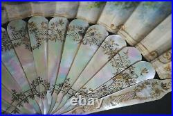 Fine Antique French Carved Mother Of Pearl Hand Painted Rococo Scene Fan