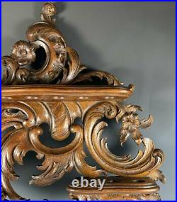 Fine Antique French Carved Wood 18 Pipe Rack, Cigar or Spoons Display, Rocaille