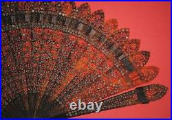 Fine Antique French Filigree Carved Horn Steel Sequins Inlaid Brise Fan