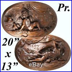 Fine Antique French Hand Carved Wood Plaques, 20 x 13 Oval, Psyche and Cupid