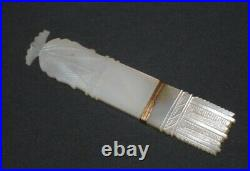 Fine Antique French Palais Royal Carved Mother Of Pearl Sewing Needle Case Etui