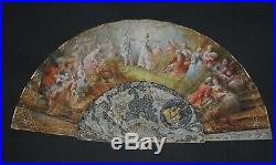 Fine Antique French Rococo Style Hand Painted Filigree Carved Figural Scene Fan