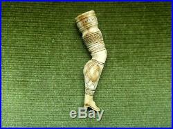 Fine Antique Georgian French Napoleonic Pow Carved Ladies Leg Pipe Tamper C1815