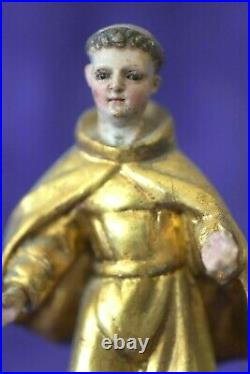 Fine Antique Glass Eyes Gold Hand Carved Wood Spanish Colonial Monk Santo Saint