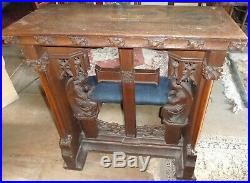 Fine Antique Gothic Carved Oak Private Chapel Church Kneeler