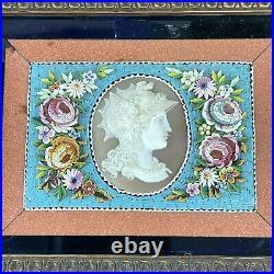 Fine Antique Grand Tour Micro Mosaic Floral Frames Carved Cameo Set Plaque A/F