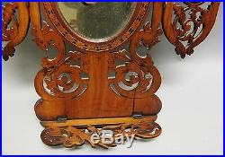 Fine Antique ITALIAN Hand-Carved Wood Parquetry Folding Mirror c. 1900