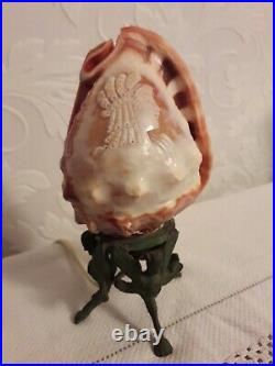 Fine Antique Italian Carved Cameo Conch Shell Grand Tour Lamp On Stand Centaur