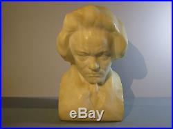 Fine Antique Marble Bust Ludwig van Beethoven Sig Lehmann Hand Carved Sculpture