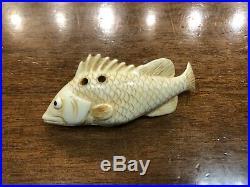 Fine Antique Netsuke Okimono Carved Signed Meiji Period Japan Dry Fish