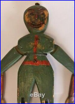 Fine Antique Painted & Carved Wood Folk Art Dancing Halloween Toy Man 10