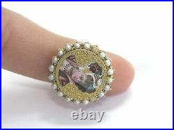 Fine Antique Pearl SOLID Yellow Gold Jewelry Ring 14Kt HAND CARVED