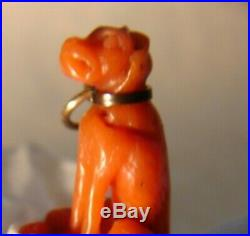 Fine Antique Pendant / Charm of Hand Carved Coral Dog c/ Gold Collar